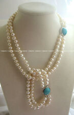 2rows freshwater pearl white round necklace bracelet nature wholesale beads