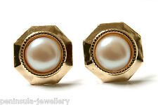 9ct Gold Rainbow Pearl Octagon stud earrings Gift Boxed Made in UK