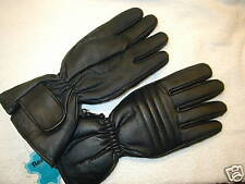 BLACK INSULATED LEATHER MOTORCYCLE GLOVE   SIZE LARGE