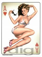 Large ACE of HEARTS Classic 1950's RETRO Casino PINUP Girl Sticker TOOLBOX Decal