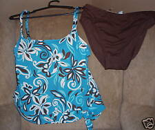 BAREFOOT MISS Size 8 Swimsuit Tankini Top Brown Swim Panty Swimwear Set NWT