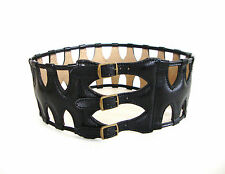Vintage Authentic AZZEDINE ALAIA Black Leather Caged CORSET Belt 65 FRANCE