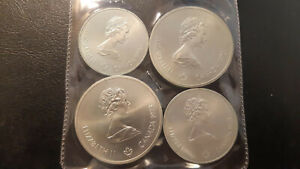 1976 MONTREAL OLYMPICS SERIES #1 1973 SILVER PL SET SILVER COINS UNCIRCULATED