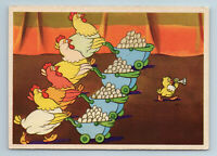 1959 RARE Laying HENS with EGGS and Chicken Funny Comic Soviet USSR Postcard