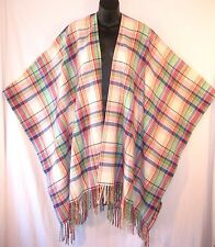 $398 RALPH LAUREN Green Pink Blue MULTI-COLOR PLAID Wool PONCHO Cape Wrap Shawl