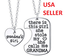 Grandma's Girl Necklace w/ Pendant Two Piece Set Granddaughter USA SELLER