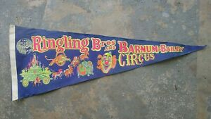 Vintage Ringling Brothers Barnum & Bailey Circus Pennant Flag Circa 1970 Blue