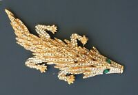 Unique crocodile with movable body brooch in gold tone metal with Crystals