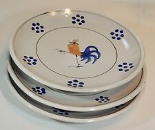 """3 Solimene Vietri Italy Hand Painted Rooster Chicken 9 1/2"""" Dinner Plates EUC"""