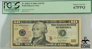 2004A UNITED STATES $10 FEDERAL RESERVE NOTE FR.2040-L PCGS 67PPQ SUPERB GEM NEW