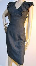 CUE size 8 wool blend lined checked DRESS with ruffle frill & complimentary belt