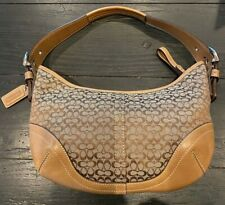 Genuine Vintage Coach Signature Jacquard Brown Tan Leather Hobo Bag 6351 Small C