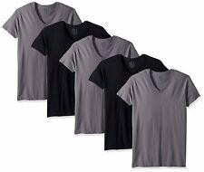 Fruit Of The Loom Mens Black/Grey Cotton V Neck T-Shirts - 5 Pack