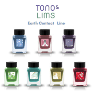 TONO&LIMS fountain pen Bottle ink Earth Contact Line all 7 colors Dye ink 30ml