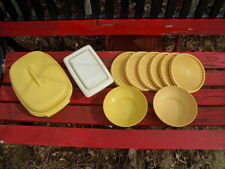 Vintage Harvest Yellow Gold Tupperware Lot of 13 Piece Strainer Butter Dish Bowl