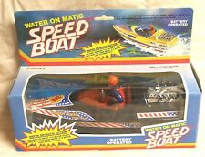 "VINTAGE ROXY TOYS WATER ON MATIC SPEED BOAT ""POWER QUEEN RACE TEAM"" USES 2 AA"