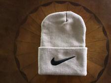 Nike Unisex Knitted Cuffed Beanie / Beige Hat with raised Black logo