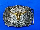 Western Texas Longhorn Steer Rodeo cow mixed metal flower swirl belt buckle