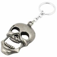 Silver Gray Skull Pendant Keys Holder Keychain Keyring Bag Ornament
