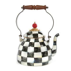 "MacKenzie-Childs Courtly Check Enamel Tea Kettle - 2 Quart 7"" dia., 10.5"" tall"