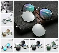 Removable Lens Polarized Sunglasses Round Metal Clip On UV400 SteamPunk Eyewear