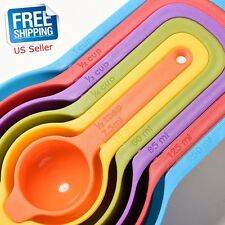 6pcs Measuring Cups Spoons Set Plastic Stackable Colorful Kitchen Baking Tools O