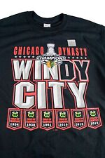 NEW NHL Chicago Blackhawks Windy City Dynasty 2015 Stanley Cup TShirt 100%cotton
