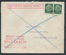 2 x 6 Pf. HINDENBURG OP ENVELOP DDPN HAARLEM - AMSTERDAM 1941   Ad713
