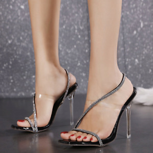 Hot Women's Stilettos High Heel Sandals Open Toe Ankle Strap Transparent Shoes L