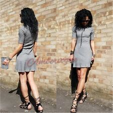 ZARA NEW GREY FLARED SKATER DRESS SIZE S UK 8