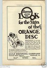 1921 PAPER AD Gulf Motor Car Auto Automobile Oil Supreme Pittsburgh PA