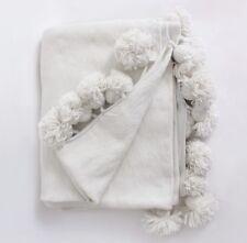 "Moroccan Handmade Wool Pom Pom Throw Blanket IVORY 118"" X 78"""