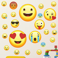 Emojis Pack of 25 - Wall Art Stickers Emoticon Funny Emoji Faces Decals Bedroom