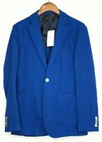 Hardy Amies Mens Sport Coat 38R Royal Blue Hopsack Cotton Wool Patch Pocket MOP
