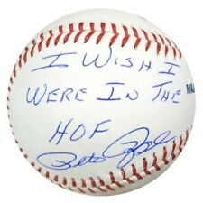 """PETE ROSE AUTOGRAPHED MLB BASEBALL REDS """"I WISH I WERE IN THE HOF"""" PSA 59083"""