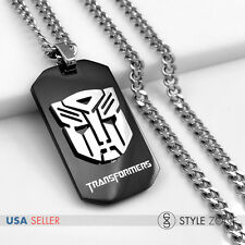 Stainless Steel Transformers Autobots Dog Tag Pendant w/ Cuban Curb Necklace 13D