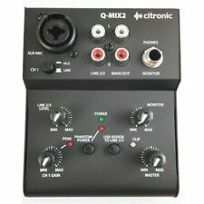 CITRONIC Q-MIX2 2  CHANNEL COMPACT MIXER POWERED BY USB BUILT IN PHANTOM POWER