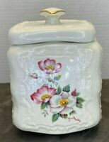 Vintage Ceramic Biscuit Cookie Jar Lidded Crock Floral Camellia Flowers Embossed