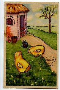 CPSM Fantaisie Joyeuse Pâques Poussins carte brillante