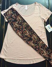 NWT Outfit OS Unicorn LuLaRoe PAISLEY Leggings & M PEACH BLUSH Classic T Top