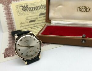 Vintage 9k 9ct Solid Gold Mens Trebex Oversized Watch + Box & Papers 1967