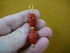 (J-16) RED OVAL CINNABAR Pendant necklace carved wood lacquer bead jewelry