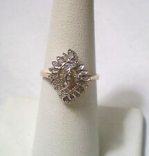 Elegant 10K Gold w/ 29 Real Diamonds Ring Size 6.75 Signed THL Samuel Aaron