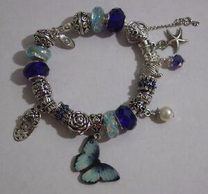 Pandora Sterling Silver Charm Bracelet European Charms Blue Butterfly Love Beach