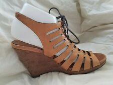 Cole Haan sz 9 Brown Leather Caged Lace Up Wedge Heels Sandals