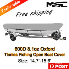 MSC 14.7-15.6ft 600D Marine Styled to fit Tinnies fishing boat cover grey