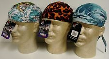 Lot Set 3 Tattoo Blue Orange Flame Road Hog Sweatband Doo Rag Headwrap Cap Biker