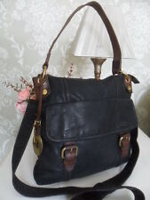 Fossil Emory Black Leather Shoulder Crossbody Messenger Bag Brown Trim Key Charm