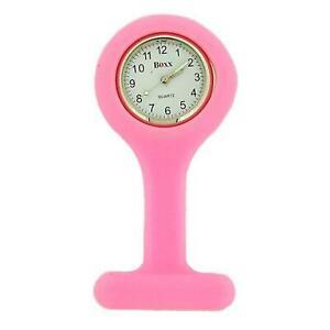 Boxx Ladies Pink Luminous Hands Rubber Infection Control Nurses Fob Watch
