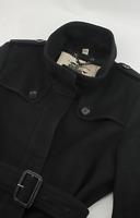 Burberry Wool Trench Coat Black Nova Check Womens Size UK 8 S Small USA 6 IT 40